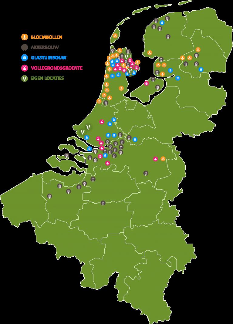Overzichtskaart van alle locaties